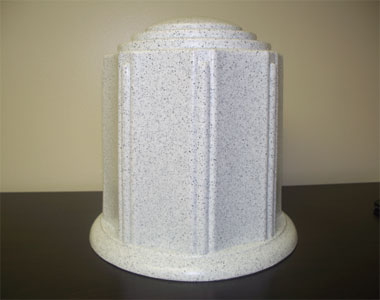 Burial Urn, Cremation Urn, White Granite rectangle Burial Urn, Granger Plastics Urn, Combination Urn Vault
