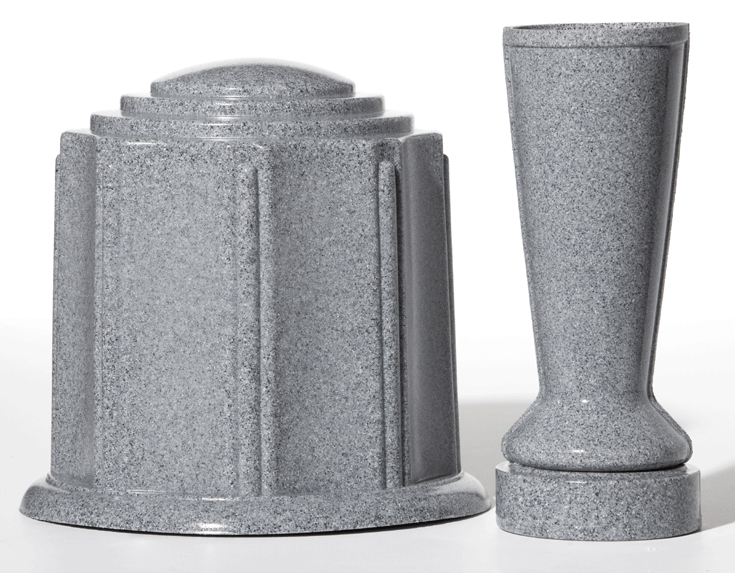 Grey Granite Urn & Vase Set