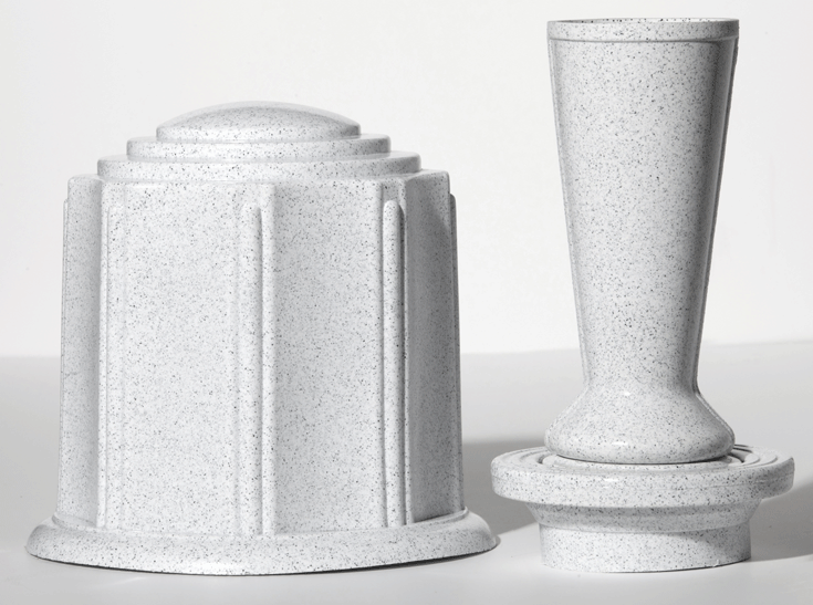 White Granite Urn Vase by ForeverSafe™